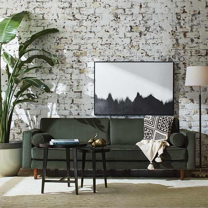 midcentury green velvet sofa amazon