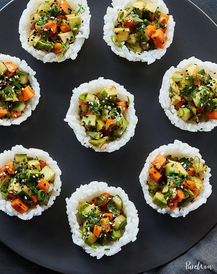 mini vegetarian sushi cups 921