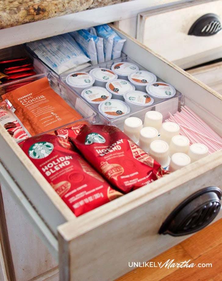 organizing hack coffee drawer