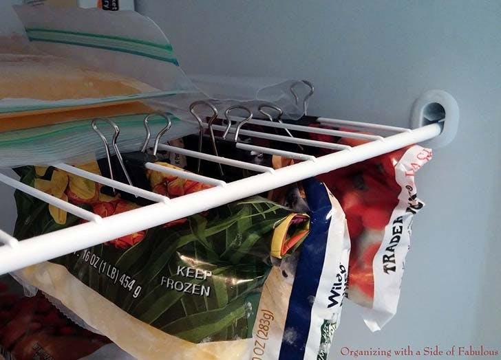 organizing hack freezer clips