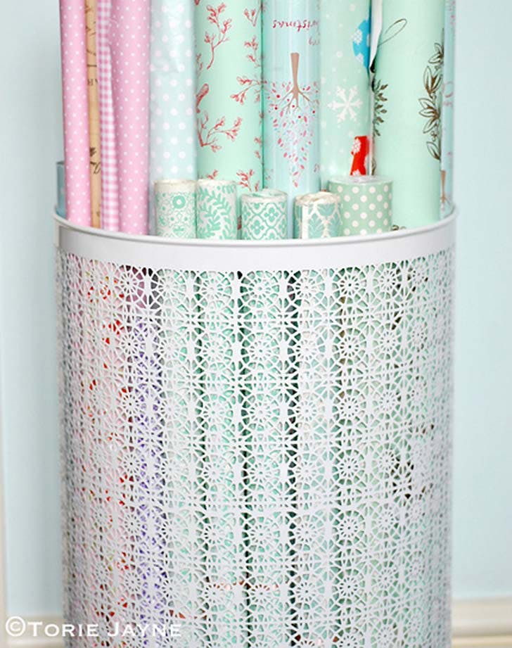organizing hack wrapping paper storage