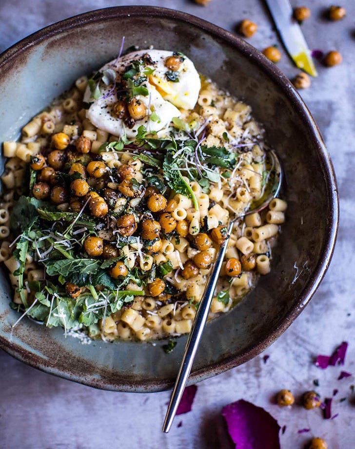 quick and simple pasta risotto herbed roasted chickpeas recipe