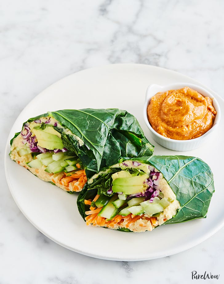 rainbow collard wraps with peanut butter dipping sauce recipe hero list