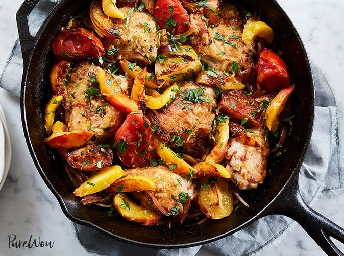 roasted peach chicken skillet recipe