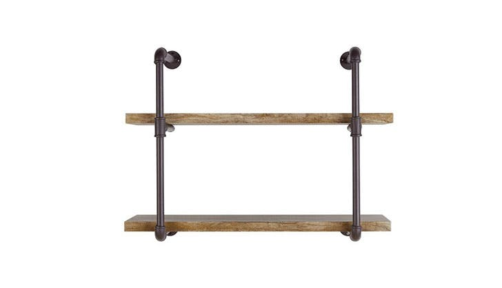 rustic wooden shelves with pipes