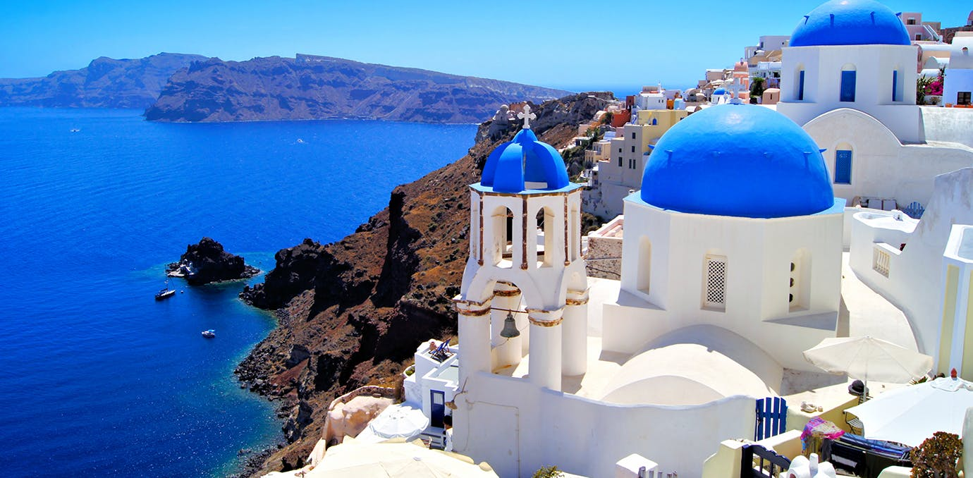 santorini greece on a crystal clear day