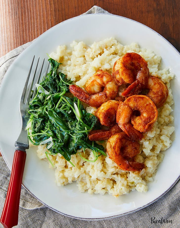 shrimp cauliflower grits Spring Dinner Recipe