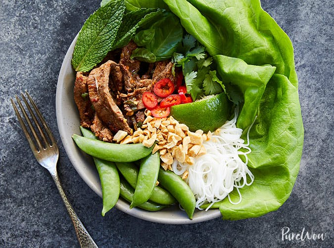 thai beef bowls with rice noodles recipe