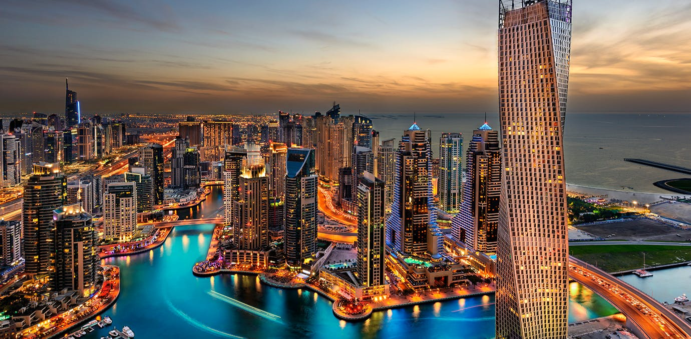 the dubai skyline in the united arab emarites