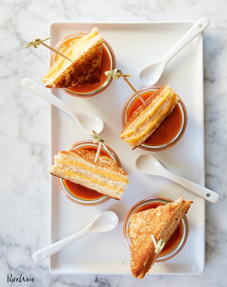 Tomato Soup with Grilled Cheese Bites