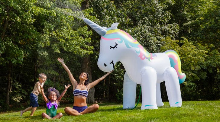 This Gigantic Unicorn Sprinkler Will 100 Percent Be *the* Toy of Summer