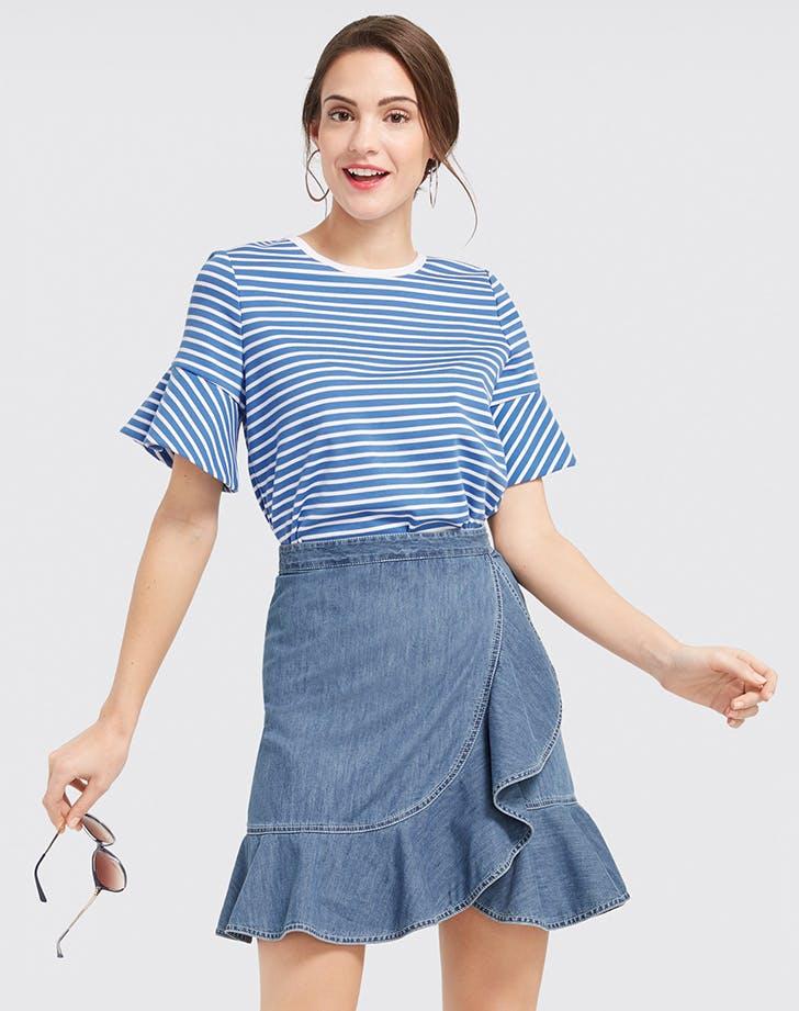 woman wearing a striped tshirt