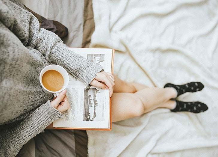 woman calm reading