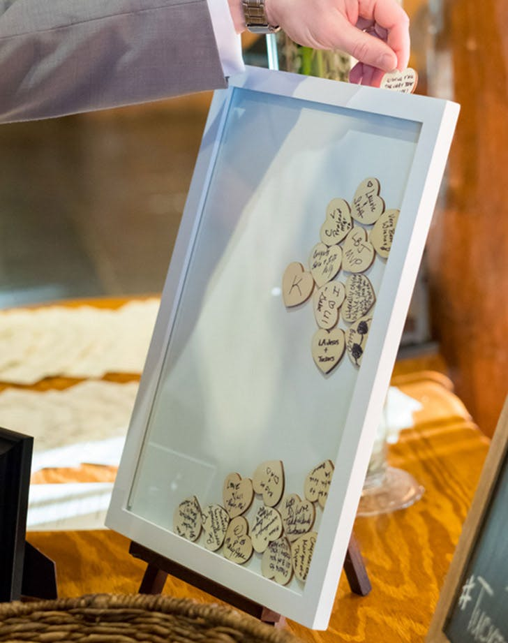 wooden heart wedding guestbook