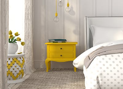 yellow nightstand cat