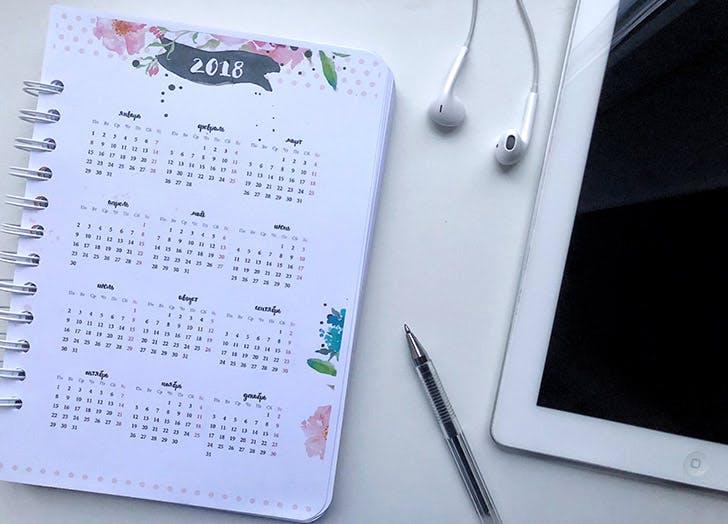2018 desk calendar planner
