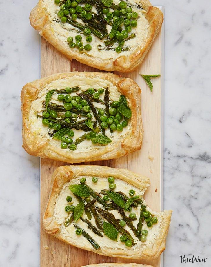 Asparagus  Pea and Ricotta Tarts