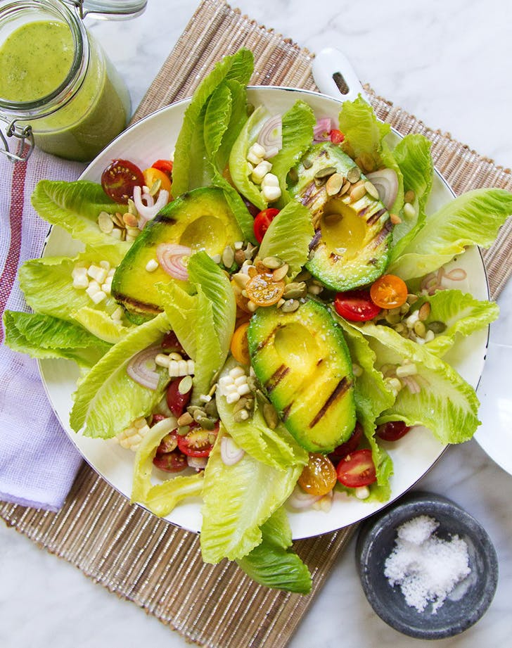 Grilled Avocado Salad with Green Goddess Dressing recipe