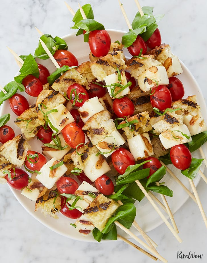 Grilled Caprese Skewers with Halloumi and Sourdough recipe