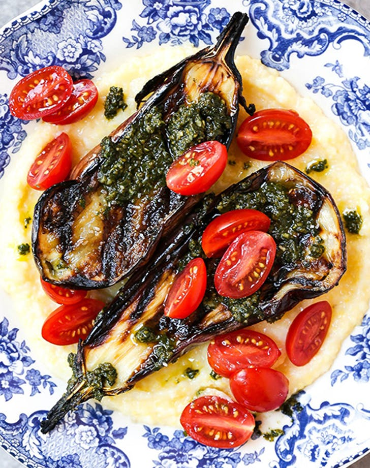 Grilled Eggplant with Goat Cheese Polenta and Basil Pesto recipe