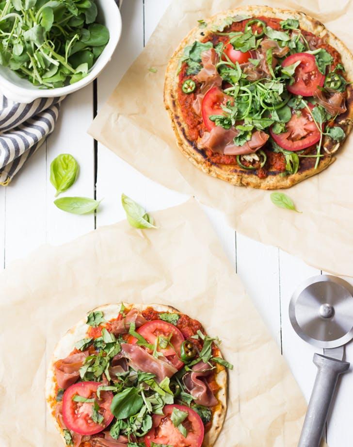 Grilled Paleo Pizza recipe with prosciutto
