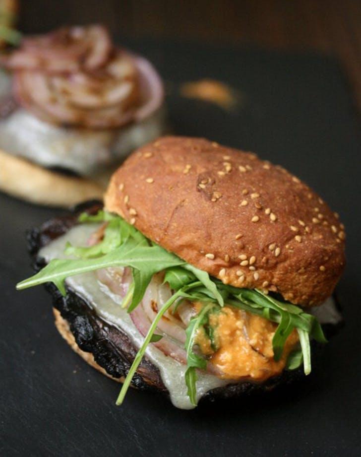 Grilled Portobello Mushroom Burgers with Romesco and Arugula recipe