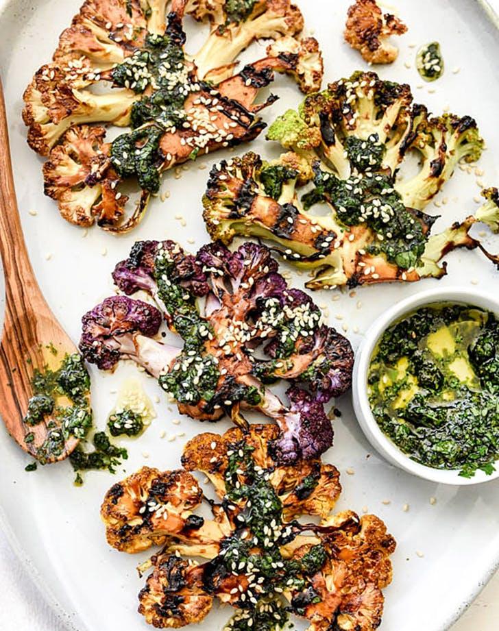 Grilled Teriyaki Cauliflower Steaks with Asian Gremolata  recipe