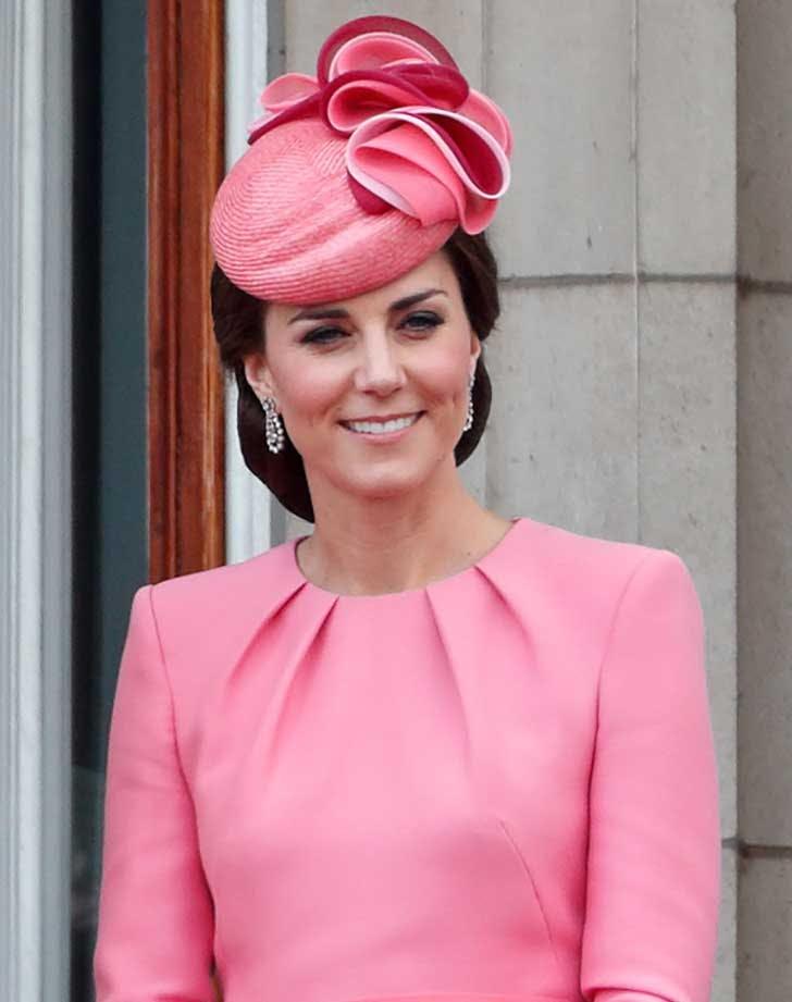 Kate Middleton wearing a pink hat