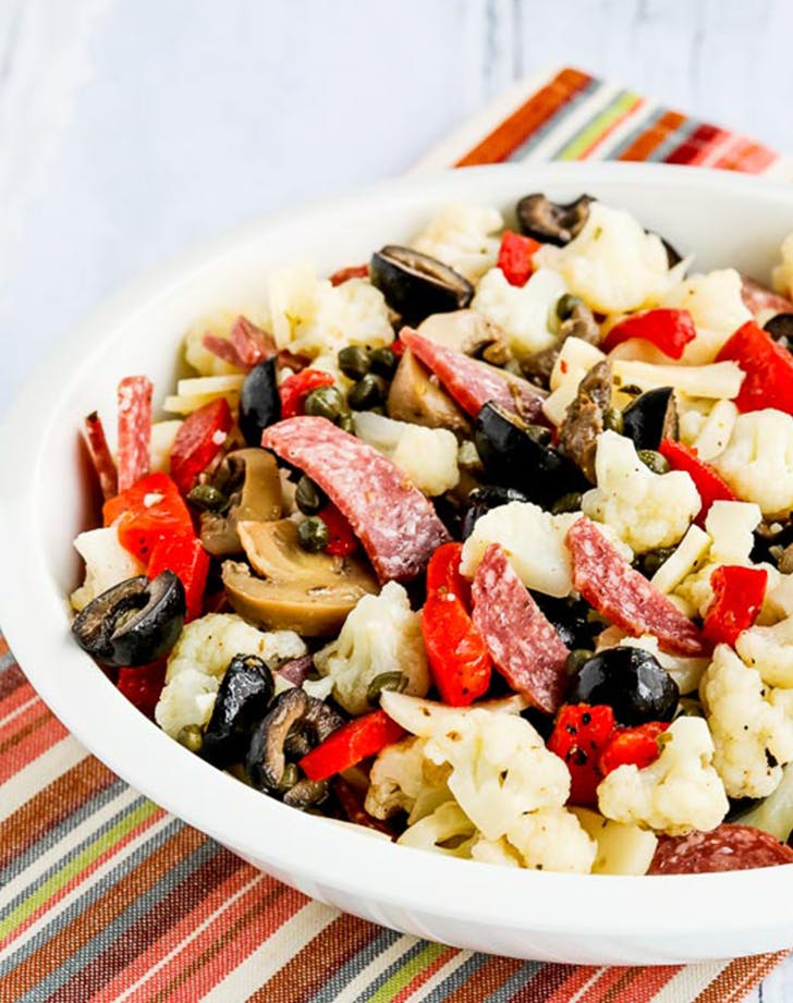 Low Carb Marinated Cauliflower Antipasto Salad ketogenic side dish recipe