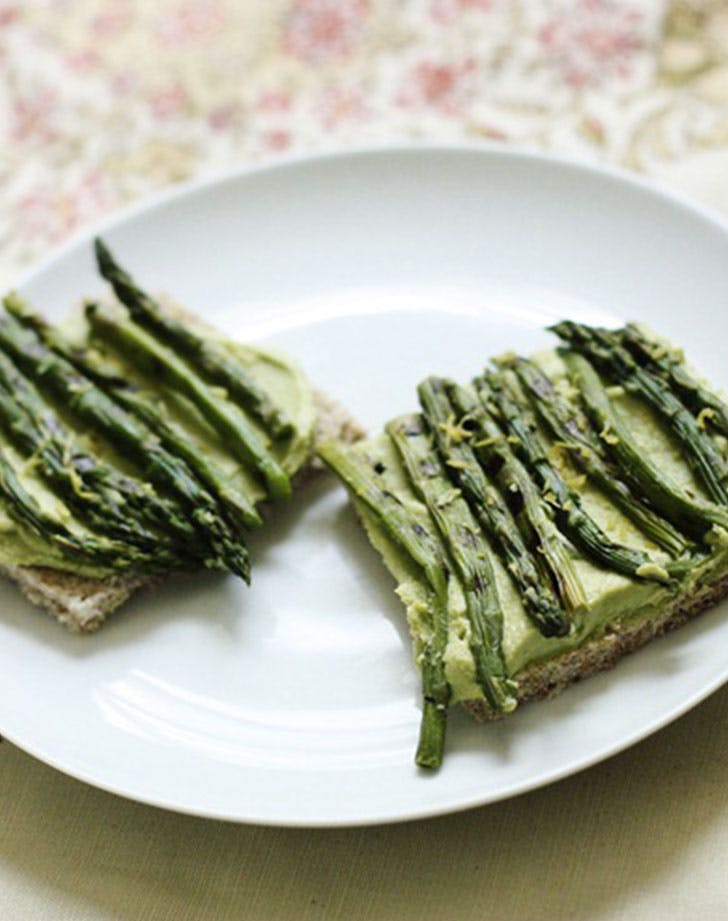 Spring Tartine with Sweet Pea Hummus and Grilled Asparagus recipe