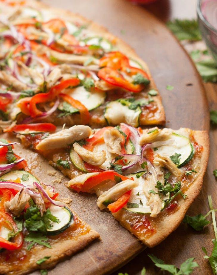 Thai Chicken Paleo Pizza with Sweet Chili Sauce recipe