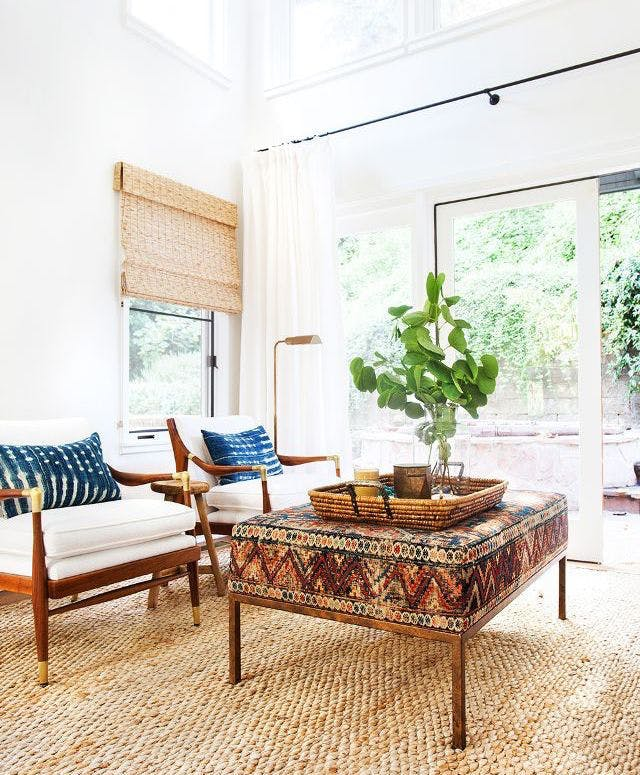 Use an Oversize Ottoman As Your Coffee Table adding seating