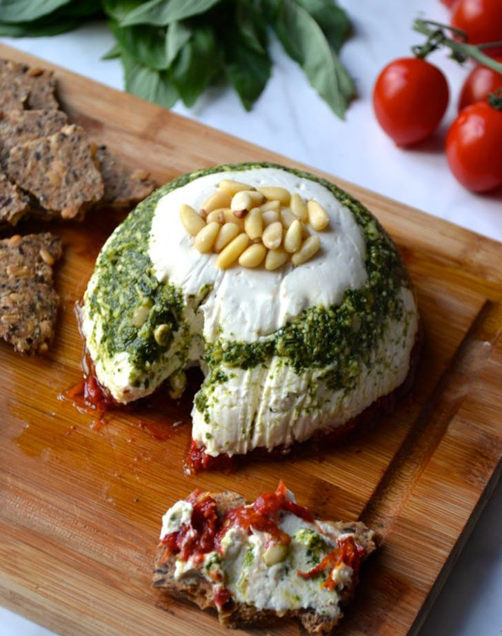Vegan Goat Cheese  Pesto and Sundried Tomato Tower
