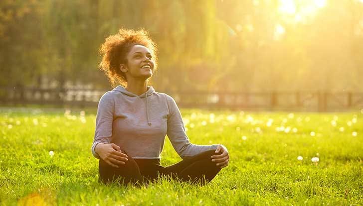 Woman doing energy work breathwork