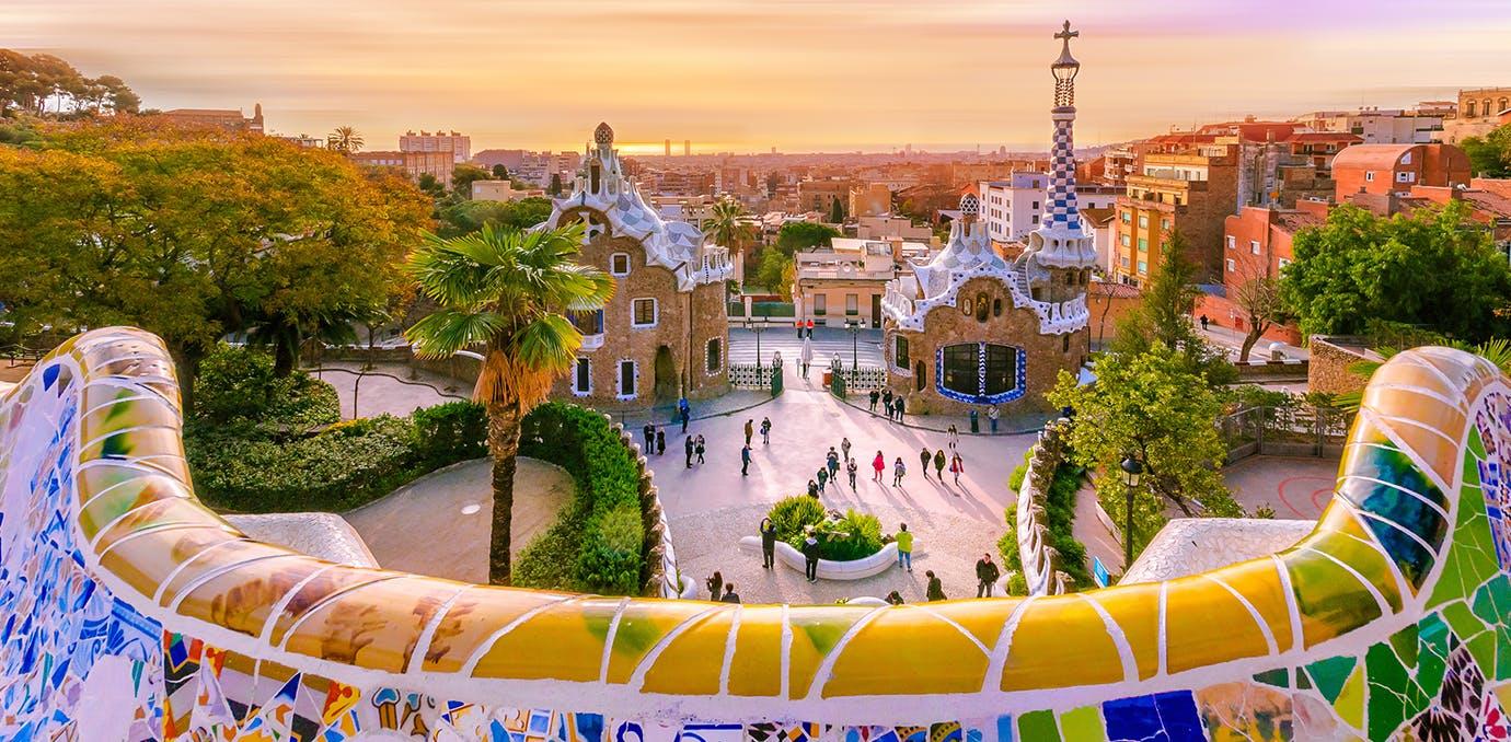 beautiful Gaudi architecture in Barcelona  Spain