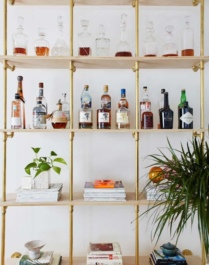 bookshelf mini bar