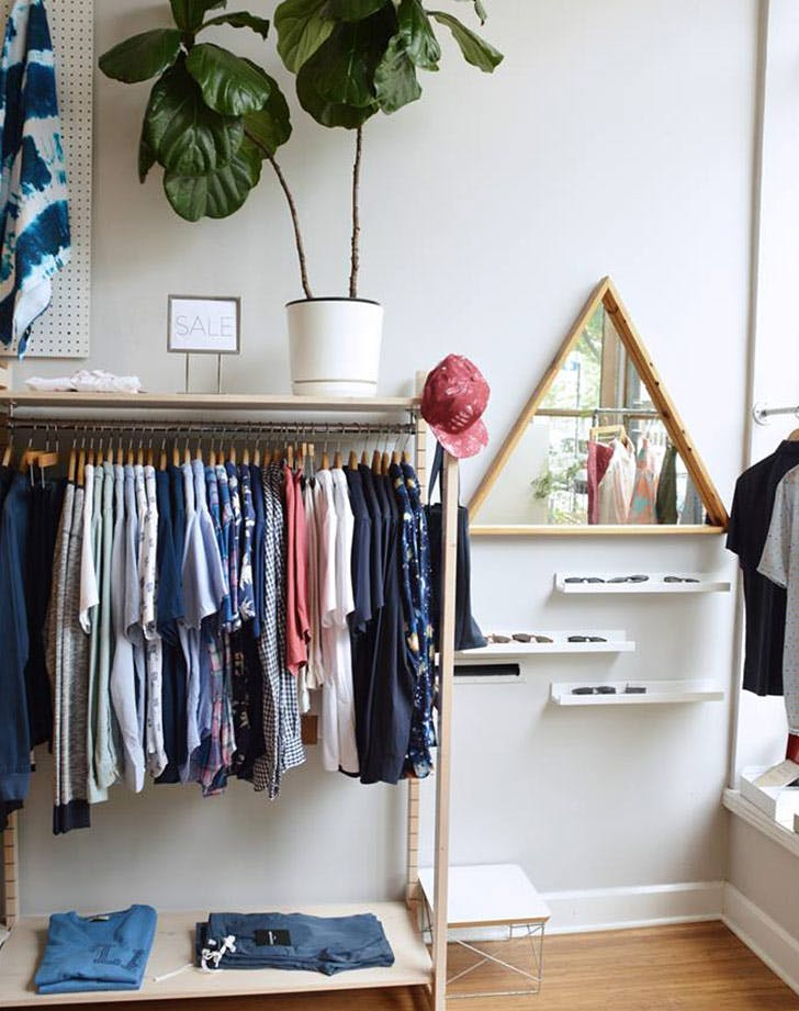 clothes closet rack plant