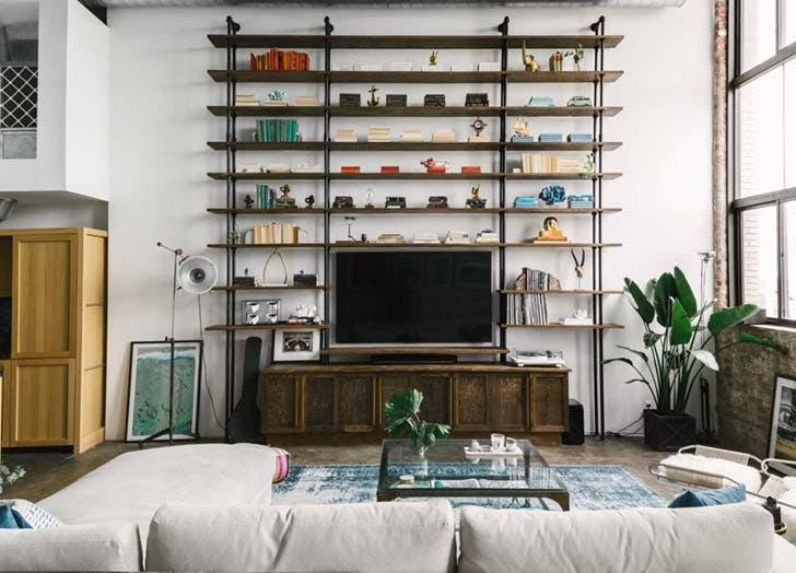 color block bookshelves