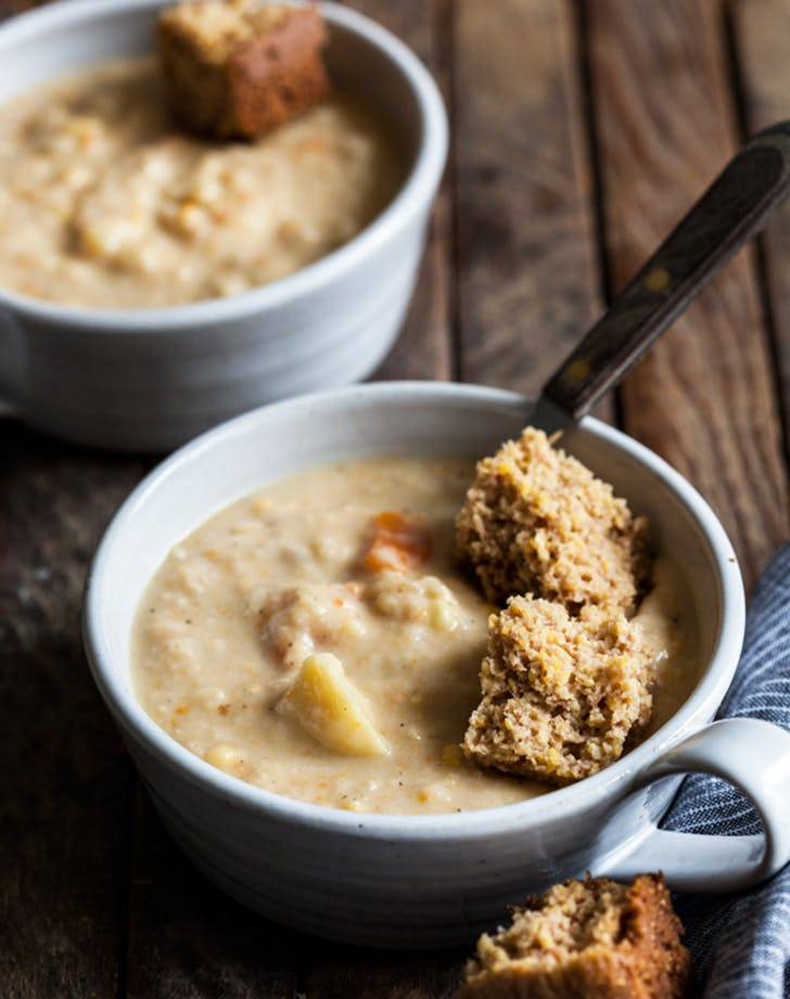 creamy vegan corn chowder recipe hero
