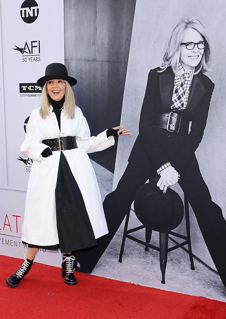 diane keaton wearing black and white