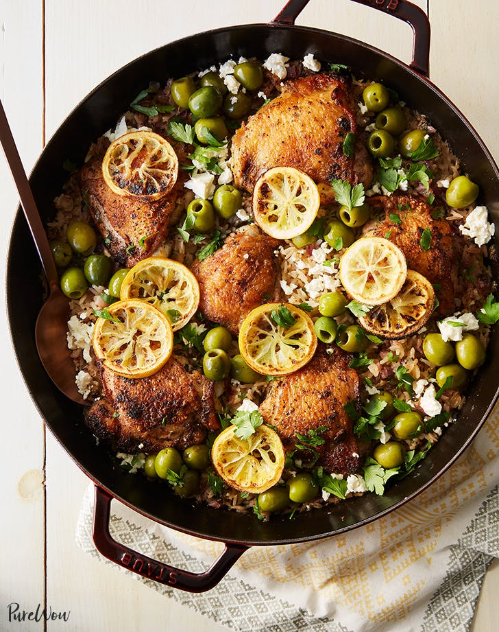 Greek Chicken and Rice Skillet
