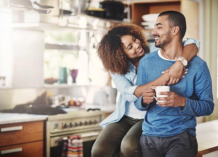 happy couple enjoying coffee