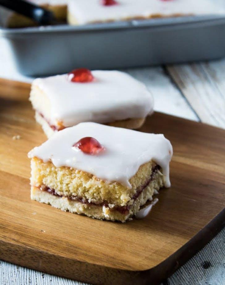 iced bakewell tart traybake recipe