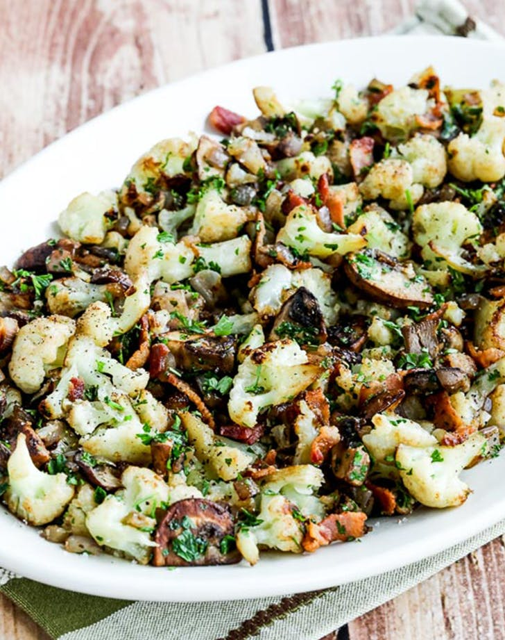 ketogenic side dish Fried Cauliflower with Bacon and Mushrooms recipe