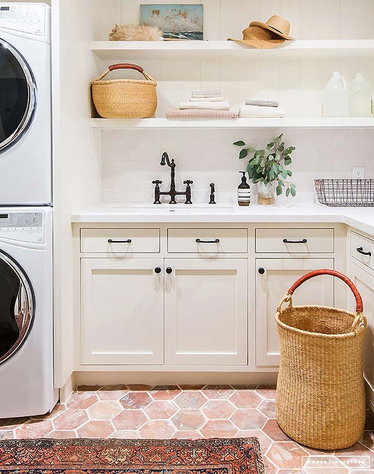 open shelving laundry room