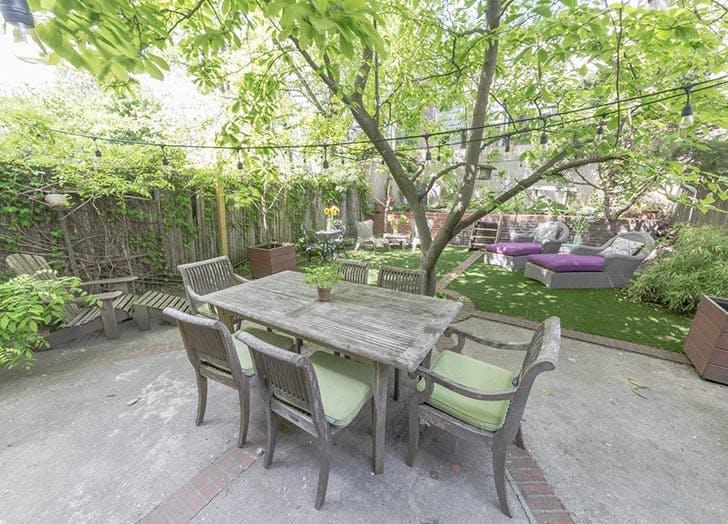patio wood table purplechairs