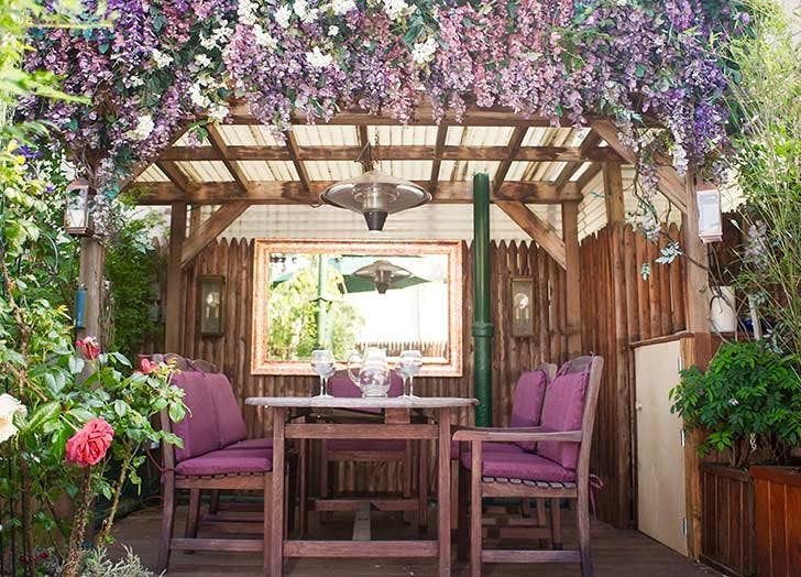 purple garden table