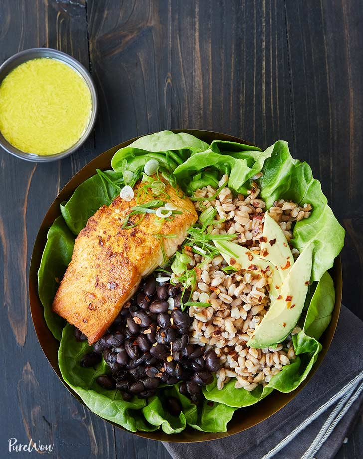 salmon farro bowl recipe