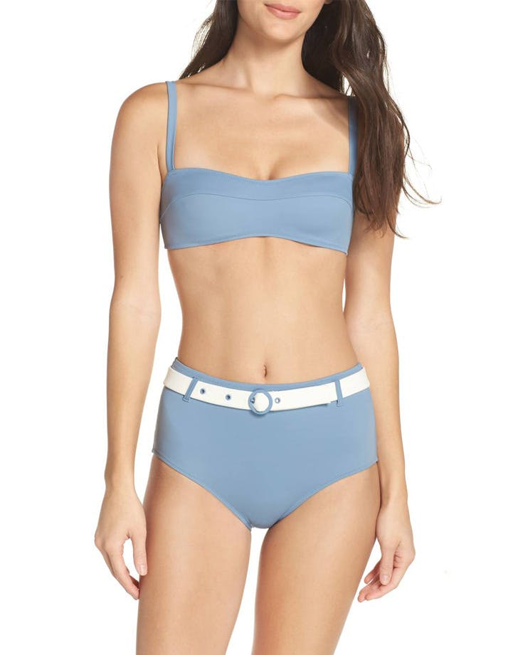 solid and striped belted bikini