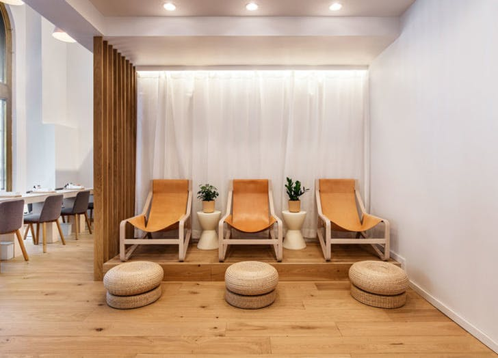 spa lounge chairs plant